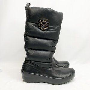 TORY BURCH Puffer Wedge Boots Black Rain Winter